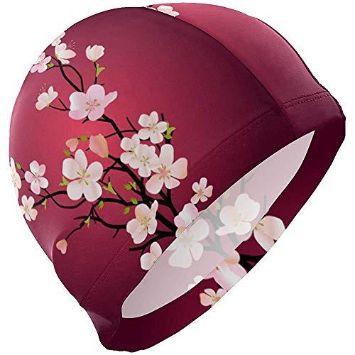 dilidy Cuffia da Nuoto Giapponese Sakura Cuffia da Nuoto Copri Orecchie Cuffia da Bagno Antiscivolo Unisex