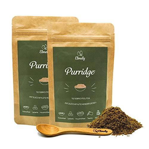 Elmely Purridge | Insekt mit Zucchini & Kokos | Ergibt bis zu 10 Tagesrationen | getreidefreie Rezeptur mit Insektenprotein | Alleinfuttermittel für Katzen
