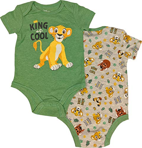 The Lion King 2-Pack Creeper Bodysuit King of Cool Set for Babies (6-9 Months)