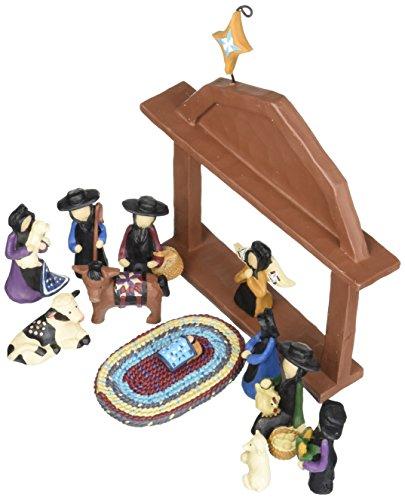 Blossom Bucket Amish Nativity Christmas Decor (Set of 13), 6-1/2 by 7-1/2'