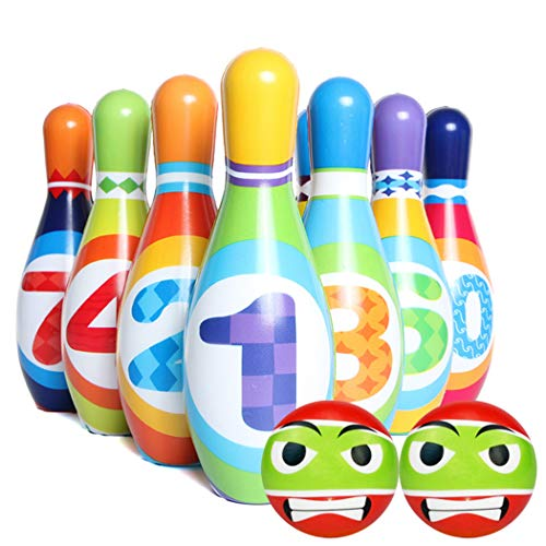 ZOYLINK 12PCS Kinder Bowling Ball Set Entwicklungs Bowling Spiel Bowling Pin mit Bowlingkugel