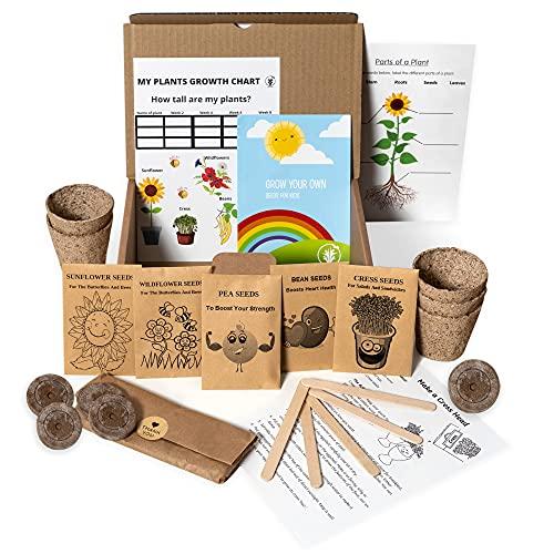 Kids Gardening Set, Grow Your own kit for Children, Wildflower Seeds, Sunflower Seeds to Grow, Cress Seeds, Pea Seeds, Garden Set for Kids, Seed Kits for Kids, Childrens Gardening Set, Flower Seeds