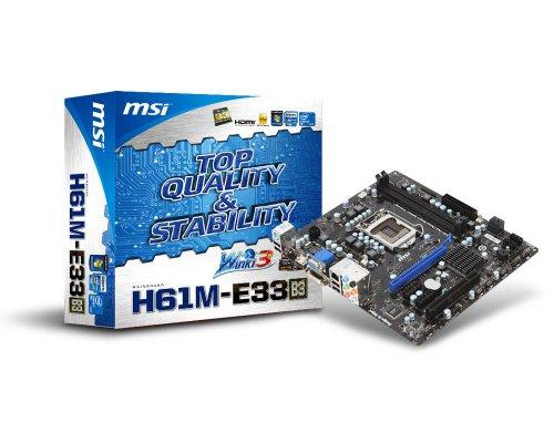 MSI H61M-E33 (B3) 7680-040R Mainboard Sockel 1155 2X DDR3 mATX max 16GB (1x PCI, 1x PCI-e x16, 4X SATA 2)