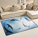 SunsetTrip Alfombra náutica de tiburón océano para sala de estar, dormitorio, alfombra moderna, antideslizante, suave al tacto, extra grande, lavable, 152 x 99 cm