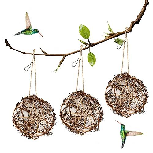 winemana Set of 3 Globe Hummingbird Nesters, Full of Bird Nesting Materials, Design for Bird Lovers,...