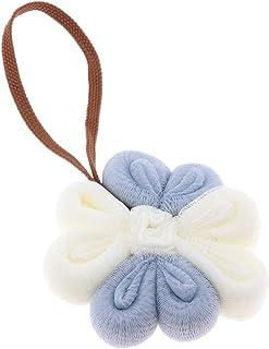 D DOLITY Bathroom Hotel Bath Shower Sponge Exfoliating Puff - Blue White