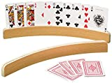 14' Curved Shape Wooden Card Holders Set of Two, Natural Finish