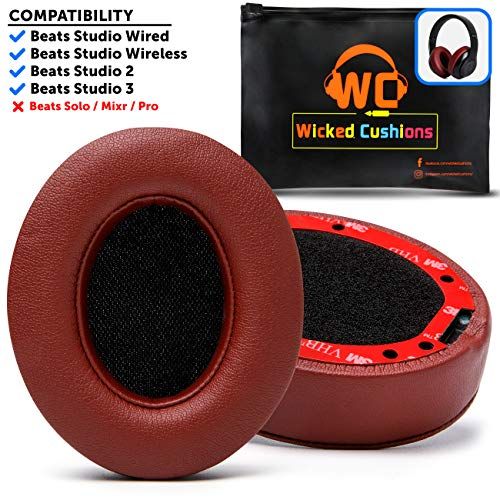 Premium Beats Studio Ear Cushions by Wicked Cushions - Compatible with Beats Studio 3/2 / Wired/Wireless - Extreme Comfort with Ear Adapting Memory Foam & Super Strong Adhesive | Burgundy