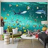 Papel pintado 3D estéreo delfín mundo submarino Mural dormitorio infantil acuario Fondo pared pegatina 3D 450X300cm
