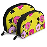 Graffiti Donuts in Mustard Travel Cosmetic Storage Assorted Portable Bags Clutch Pouch Gift 2Pcs for...