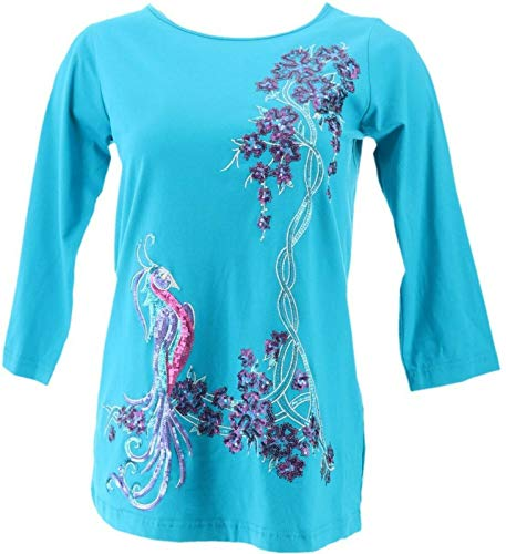 Bob Mackie Embroidered Sequined Bird Paradise Top Teal XXS New A276855