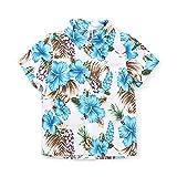 Phorecys シャツ ボーイズ 半袖 子供服 Yシャツ カジュアル キッズ 旅行 遊園 祭り可愛い 花 柄 大きいサイズ ワイシャツ ホワイト&ブルー 110cm(JP100cm)
