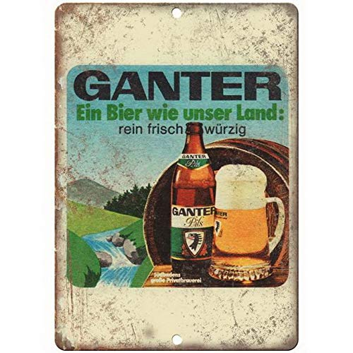 ABLERTRADE Ganter Beer Pils Man Cave Décor Vintage Look Beer Tin Sign Man Cave Bar Sign 20,3 x 30,5 cm