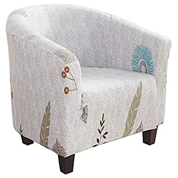 Didihou Club Chair Slipcover Stretch Armchair Covers 1-Piece Printed Tub Chair Covers Sofa Cover Jacquard Spandex Couch Covers for Bar Counter Living Room