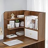 Estantería para Libros Escritorio Estantería de 3 niveles encimera Oficina Librero suministros de madera Organizador de escritorio Accesorios estante de exhibición con 1 cajón Librería Estantería