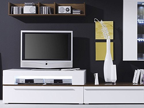 Expendio 44848249 Wohnwand, MDF/Spannplatte, weiß, 47 x 312 x 190 cm - 3