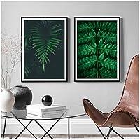 壁の芸術、新鮮な植物ユーカリの葉プリントキャンバス絵画北欧のキャンバスポスターとリビングルームの壁の写真を印刷フレームなし