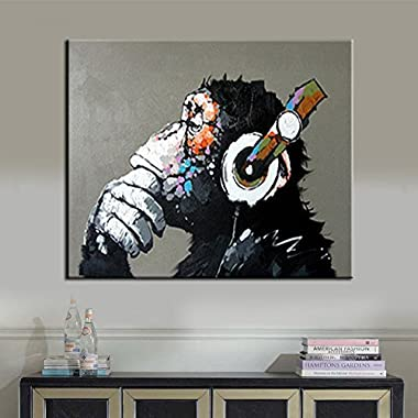 BPAGO Animal painting abstract modern wall art for living room chimp 100% oil paintings on canvas thinking gorilla Artwork large wall paintings Home Décor Stretched-Ready to hang
