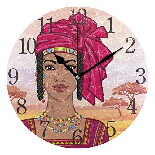 Kncsru Retrato de animación de la Hermosa Mujer Africana Reloj de Pared Silencioso Reloj de Pared sin tictac Que Funciona con Pilas Decoración de Pared Vintage