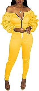 d742c8b019f Augsuttc Women Off Shoulder Long Sleeve Front Zipper Bodycon Jumpsuit Long Pants  Rompers