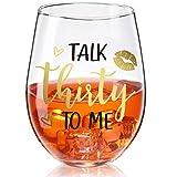 Talk Thirty To Me Wine Glass 30th Birthday Stemless Wine Glass Black Stemless Glass Cups Dirty 30 Birthday Present for Women Men Friends Thirty Birthday Present Wedding Anniversary Party Favors, 17 Oz