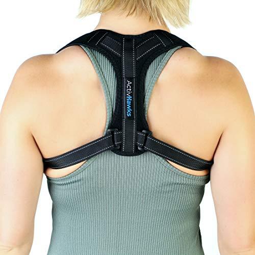 ActivHawks Corrector de Postura Para Hombre y Mujer Ajustable - Este Faja para Dolor de Espalda es Ideal para Aliviar los Dolores Dorsales, Thoraciques, Cuello y Hombros - Incluye eBook de Ejercicios