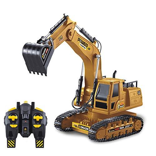 QTER Excavadora de control remoto, USB Eléctrico Rc Control Remoto Tractor de...