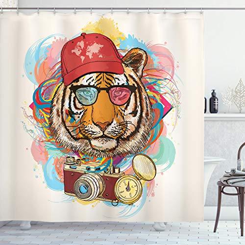 ABAKUHAUS Duschvorhang, Hipster Rapper Stil Tiger mit Sonnenbrille Hut & Kamera Künstler Hippie Animal Comic Druck, Wasser & Blickdicht aus Stoff mit 12 Ringen Bakterie Resistent, 175 X 200 cm