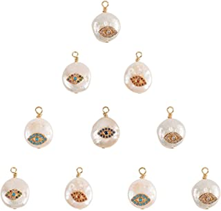 NBEADS 10 Pcs Natural Cultured Freshwater Pearl Pendants, Flat Round Evil Eye Theme Pearl Beads with Cubic Zirconia and Br...