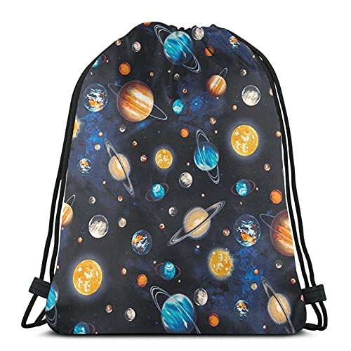 Lmtt Mochila con cordón Mochila deportiva Mochila de viaje Bolsa de viaje Galaxy Planets
