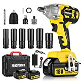 Cordless Impact Wrench, 18V 320N.m Electric High Torque Wrench, 2 Pcs...