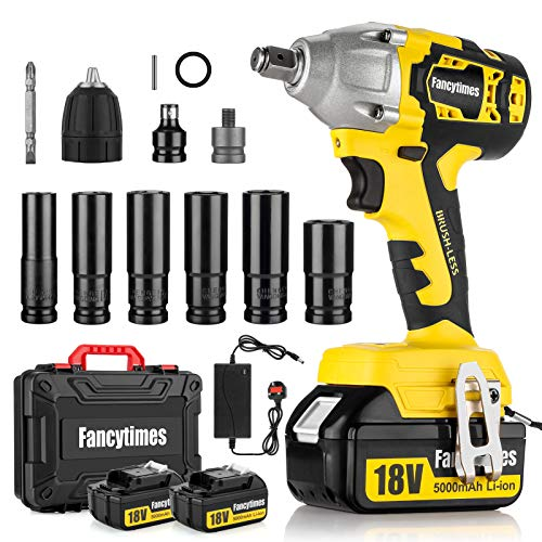 Cordless Impact Wrench, 18V 320N.m Electric High Torque Wrench, 2 Pcs 5.0AH Battery, 1/2 inch Drive, Dual Speed Auto Power Tool, 6 Impact Socket Set & Carry Case