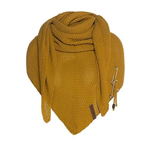 Knit Factory - Dreiecksschal Coco - Damen Strickschal mit Wolle - Hochwertige Qualität - XXL Schal - 190 x 85 cm - Ocker