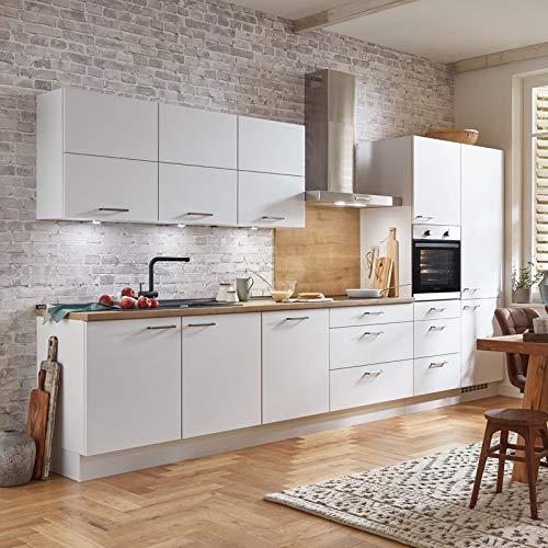 Küchenzeile Einbauküche nobilia elements FAMILY | Eiche Provence | 3,90 m | vormontiert | inkl. E-Geräte