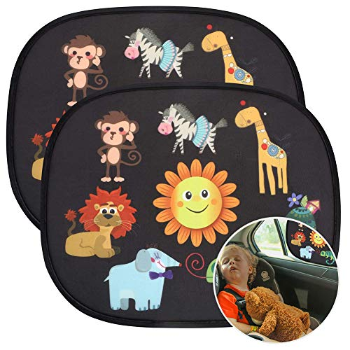 URAQT Sonnenblenden Auto, 2 Stück Sonnenschutz Baby, Autoscheibe Schatten, Selbsthaftende Autofenster, Kinder Autosonnenblende, Zertifizierter UV-Schutz, für Auto Seitenfenster (Wildlife)