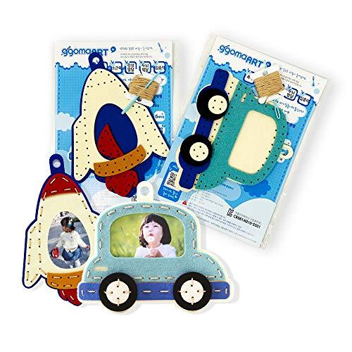 ggomaART Sewing Kit for Kids - Bundle Pack of DIY Art Craft Hand Stitch Play Set, Safety Needle Harmless Felt Cloth Button for Beginner Little Girl Boy - Rocket / Car Picture Frame