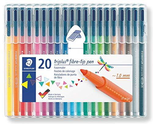 Staedtler triplus color, 323 SB20 Filzstifte, Set mit 20 brillanten Farben, hohe Qualität - kindgerecht DIN EN-71, stabile, eindrucksichere Spitze, Linienbreite ca. 1 mm