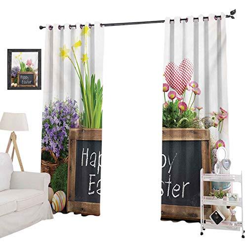 YUAZHOQI - Cortinas opacas para ventana, arreglo de día festivo con flores, huevos, pizarra sobre una mesa de madera, elementos rústicos, cortina de oscurecimiento para sala de estar, 132 x 213 cm, multicolor