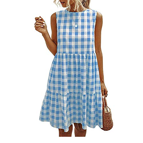 Women Mini Dresses Plaid A-Line Loose Swing Sleeveless Summer Casual Pocket...