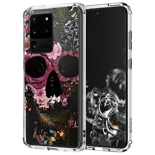 MOSNOVO Galaxy S20 Ultra Case, Floral Skull Flower Clear Design Printed Transparent Hard Back case with TPU Bumper Protective Case Cover for Samsung Galaxy S20 Ultra