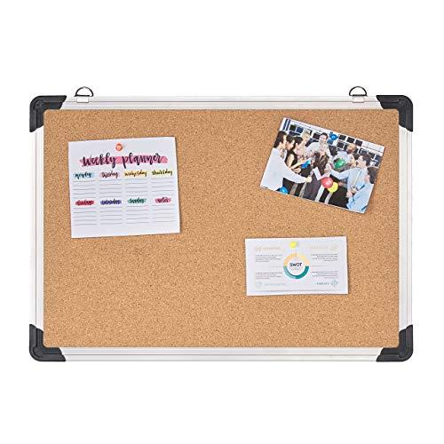Relaxdays Prikbord van kurk, aluminium frame, flexibele ophangingen, kurkbord voor kantoor, H x B: 35 x 50 cm, zilver/natuur