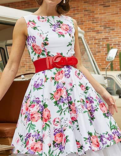 Women's Vintage Style Buckle Stretch Waist Belt (XL,Red)