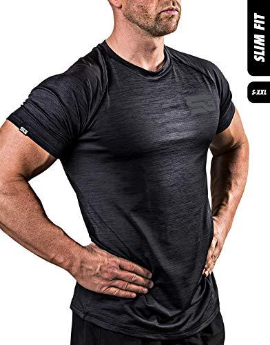 Satire Gym Fitness T-Shirt Herren - Funktionelle Sport Bekleidung - Geeignet Für Workout, Training - Slim Fit (M, schwarz meliert)
