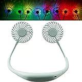 Horizoncn USB Ventilator Hals hängend Handfrei Ventilator wiederaufladbarer persönlicher Tragbarer Luftkühler 3 Gesch windigkeits-Einstellbarer LED-Licht Kleiner für Büroraum und ReisenGreen