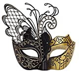 Masquerade Mask for Women Venetian Mask/Halloween/Party/Ball Prom/Mardi Gras/Wedding/Wall Decoration… (Gold&Black)