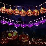 Amzeeniu Luci per Halloween 3 m 20 LED Zucca Luci Pipistrelli Luce Della String Lucine LED a Batteria,Catena Luminosa Led Luci Decorazione per Halloween Decorazioni,Feste,Natale,esterni(bianco caldo)