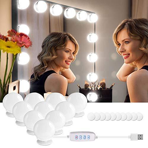 Led Spiegelleuchte, 10 Schminklicht mit Dimmfunktion Hollywood Stil chminktisch Leuchte,Spiegellampe Make up Licht Spiegel Beleuchtung für Schminkspiegel Schminktisch Leuchte Licht