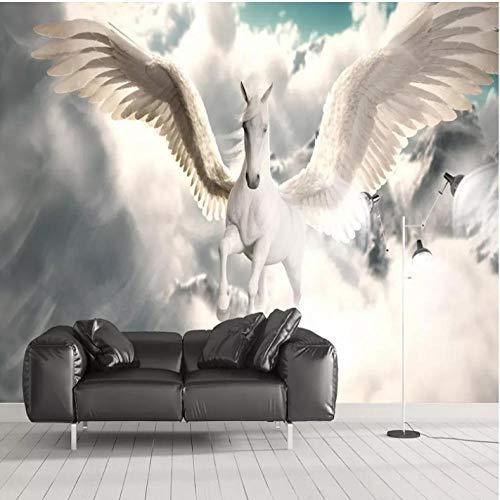 Pbbzl 3D muurschildering Nordic Mythologie God Paard Photo Muurdoek Restaurant Cafe Achtergrond Muur 200 x 140 cm.