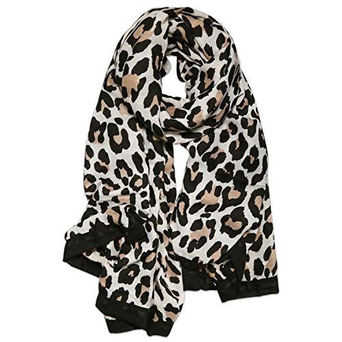 SOJOS Fashion Leopard Pattern Lightweight Chiffon Silk Women Scarf SC321 with Beige Leopard