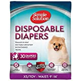 Simple Solution True Fit Disposable Dog Diapers for Female Dogs | Super Absorbent with Wetness Indicator | XS/Toy | 30 Count